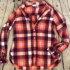 Purple and orange plaid flannel